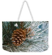 Frosty Pine Needles And Pine Cones Weekender Tote Bag