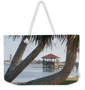 Gazebo Dock Framed By Leaning Palms Weekender Tote Bag