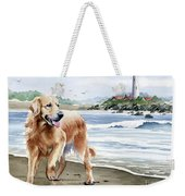 Golden Retriever At The Beach Weekender Tote Bag