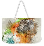 Green And Orange Macaw Bird Digital Watercolor On Photograph Weekender Tote Bag