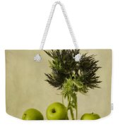 Green Apples And Blue Thistles Weekender Tote Bag by Priska Wettstein