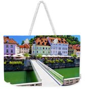 Green Ljubljana Riverfront Panoramic View Weekender Tote Bag