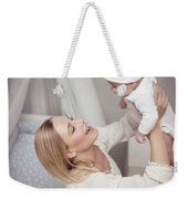 Happy Mother With Her Baby Weekender Tote Bag