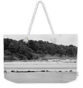 Hilton Head Island Shoreline In Black And White Weekender Tote Bag
