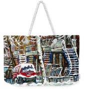 Achetez Les Meilleurs Peintures De Scenes De Montreal En Hiver Winter Scene Paintings Weekender Tote Bag