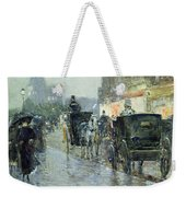 Horse Drawn Cabs At Evening In New York Weekender Tote Bag by Childe Hassam