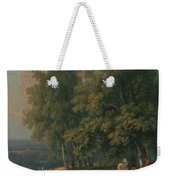 Horses And Cattle By A River Weekender Tote Bag