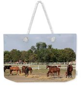 Horses Eat Hay On Ranch Weekender Tote Bag
