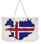 Iceland Map Art With Flag Design Weekender Tote Bag
