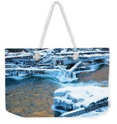 Icy Blue River Weekender Tote Bag