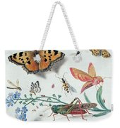Insects And Garden Pansy Weekender Tote Bag