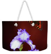 Iris And Butterfly Weekender Tote Bag
