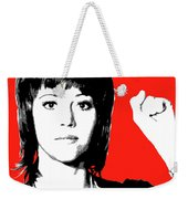 Jane Fonda Mug Shot - Red Weekender Tote Bag