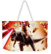 Laser Eyes Space Cat Riding Dog And Dinosaur Weekender Tote Bag