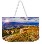 Light On Stone Mountain Slope With Forest Weekender Tote Bag