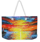 Lighthouse Sunset Ocean View Palette Knife Original Painting Weekender Tote Bag