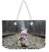 Little Teddy Bear Sitting In Knitted Scarf And Cap In The Winter Forest Between The Rails Weekender Tote Bag