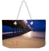 Love Heart In The Sand At Boscombe Pier Weekender Tote Bag
