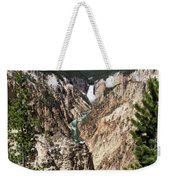 Lower Falls From Artist Point In Yellowstone National Park Weekender Tote Bag