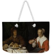 Man And Woman At A Meal Weekender Tote Bag