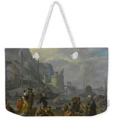 Mediterranean Port With An Elegant Couple Weekender Tote Bag