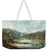 Mountain Landscape With Indians Weekender Tote Bag