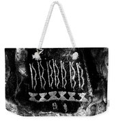 Native American Petroglyph On Sandstone Black And White Weekender Tote Bag