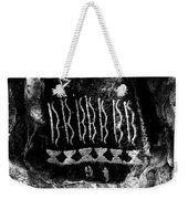 Native American Petroglyph On Sandstone Black And White Weekender Tote Bag