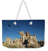 Natural Rock Formation And Wild Birds At Mono Lake, Eastern Sier Weekender Tote Bag