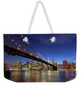 New York City Skyline By Night Weekender Tote Bag