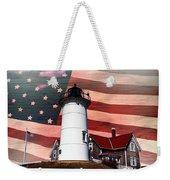Nobska Lighthouse On American Flag Weekender Tote Bag