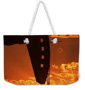 Oil Rig Pump Jack Silhouetted By Setting Sun Weekender Tote Bag