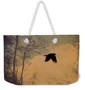 Lone Crow Flies Over The Old Country Road  Weekender Tote Bag