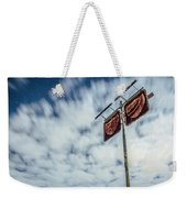 Old Rustic Fuel Station Sign In The Countryside Weekender Tote Bag