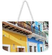 Old San Juan Houses In Historic Street In Puerto Rico Weekender Tote Bag