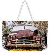 Old Vintage Plymouth Automobile In The Woods Covered In Snow Weekender Tote Bag
