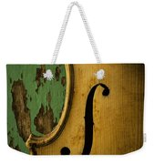 Old Violin Against Green Wall Weekender Tote Bag