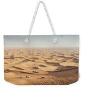 One 4x4 Vehicle Off-roading In The Red Sand Dunes Of Dubai Emirates, United Arab Emirates Weekender Tote Bag