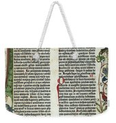 Page Of The Gutenberg Bible, 1455 Weekender Tote Bag