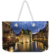 Palais De L'isle And Thiou River In Annecy Weekender Tote Bag