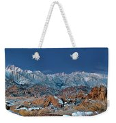 Panoramic Winter Morning Alabama Hills Eastern Sierras California Weekender Tote Bag