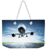 Passenger Airplane Taking Off On Runway Weekender Tote Bag