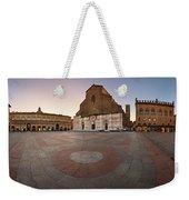 Piazza Maggiore And San Petronio Basilica In The Morning, Bologna, Emilia-romanga, Italy Weekender Tote Bag