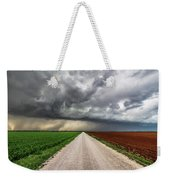 Pick A Side - Colorful Fields Divided By Road On Stormy Day In Oklahoma. Weekender Tote Bag