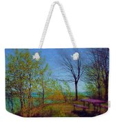 Picnic Table By The Lake Weekender Tote Bag