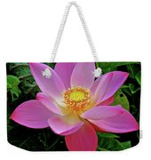 Pink Blooming Lotus Weekender Tote Bag