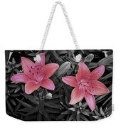 Pink Daylilies With Partially Desaturated Petals And Black And White Background Weekender Tote Bag