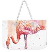 Pink Flamingo Watercolor Rain Weekender Tote Bag