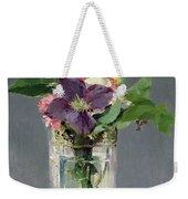 Pinks And Clematis In A Crystal Vase Weekender Tote Bag