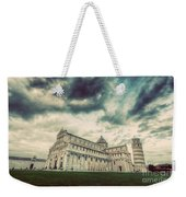 Pisa Cathedral With The Leaning Tower Of Pisa, Tuscany, Italy. Vintage Weekender Tote Bag